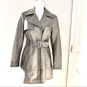 Bebe Gold Gray Leather Trench Coat Sz M
